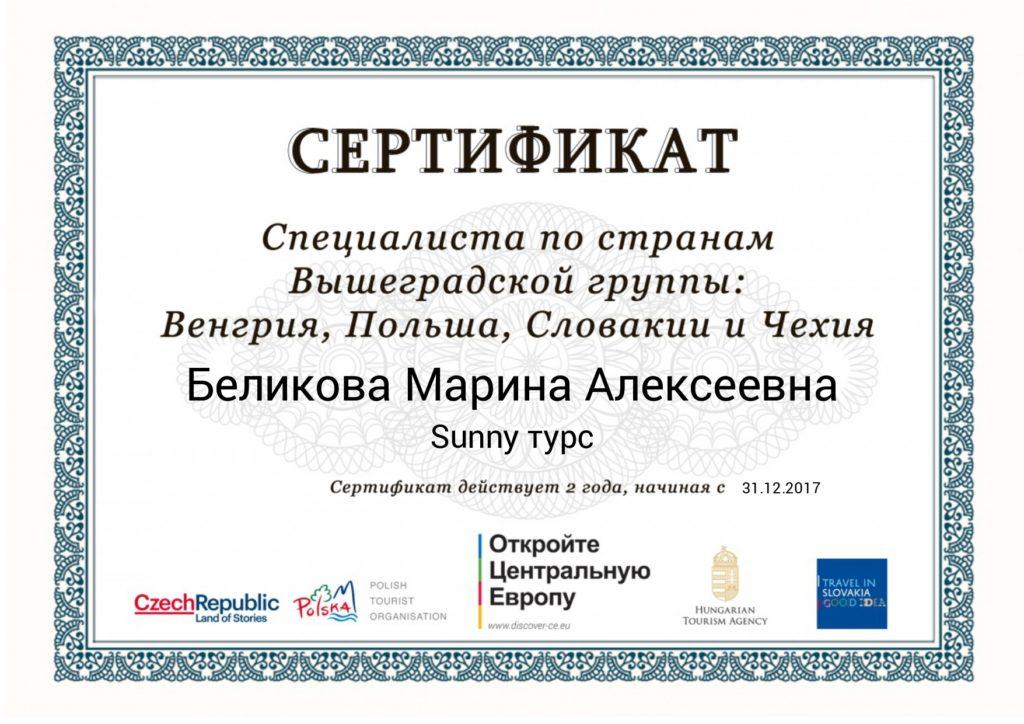 Сертификат Специалиста по странам Вышеградской группы